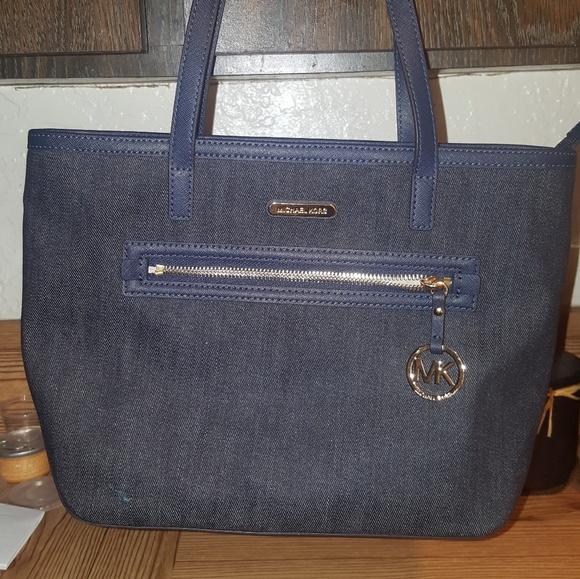 33db0d195c5a6 Dark blue denim Michael Kors purse